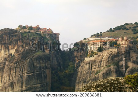 Meteora Monasteries in Trikala region in autumn, Greece. - stock photo