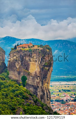Meteora Monasteries in Trikala region in summer, Greece. - stock photo