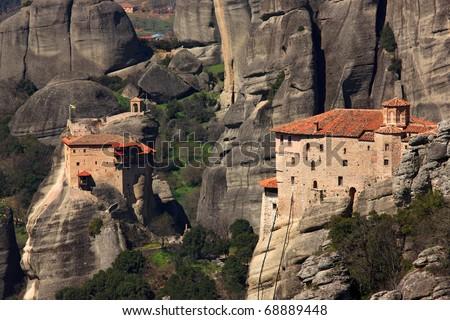 Meteora monasteries, Roussanou monastery (right), Anapafsa monastery (left) - stock photo