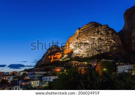 "Meteora rocks landscape, meaning ""suspended into air"" in Trikala, Greece at dusk - stock photo"