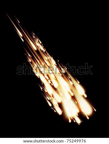 Meteorite burnout in night sky - stock photo
