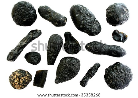 Meteorite collection, Indochinite tektites. - stock photo