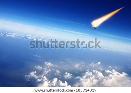 Meteorite collide with the Earth - stock photo