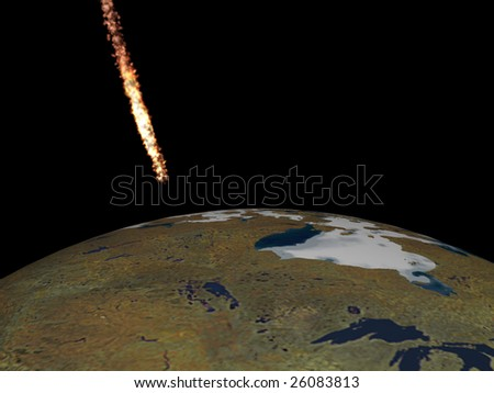 meteorite fall - stock photo
