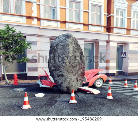 meteorite fell on a parked car. 3d concept - stock photo
