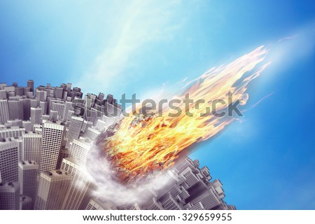 Meteorite is flying towards the Earth - stock photo