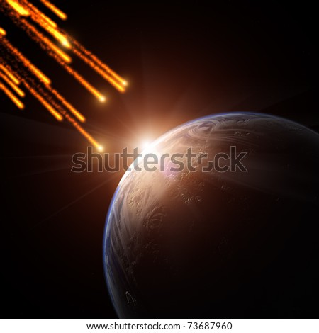 Meteorite shower on a planet - stock photo