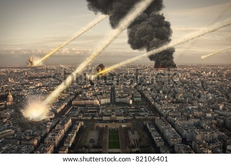 Meteorite shower over Paris, destroying the city - stock photo