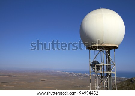 Meteorological station on a white sphere/Weather Station - stock photo