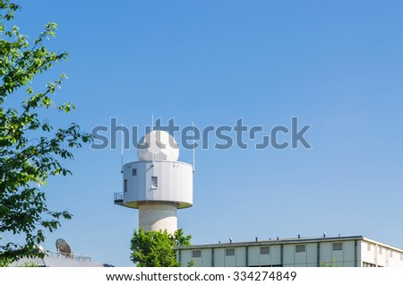 Meteorological station with white dome / weather station. - stock photo