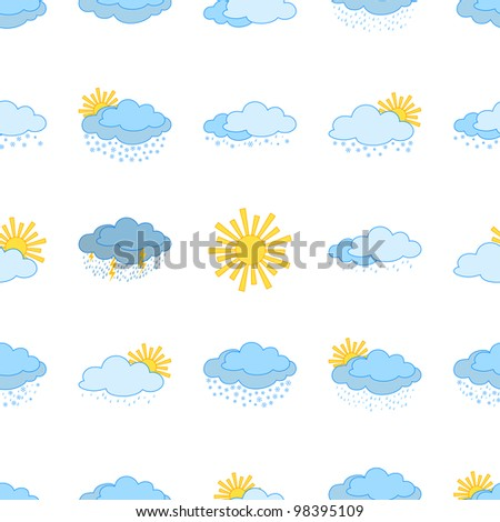 Meteorology seamless, weather icons, illustrating various natural phenomena
