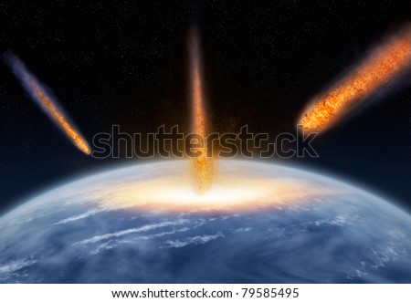 Meteors hitting the Earth - stock photo