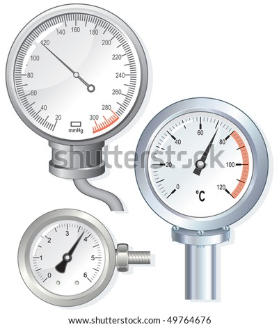 Meter device faces -manometer,thermometer,pressure meter (vector id=49672225) - stock photo