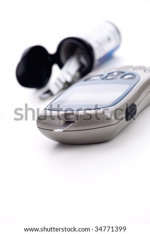 Meter for self checking blood glucose level for diabetics - stock photo