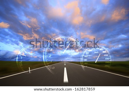 Meter which appears on the way of a morning glow - stock photo
