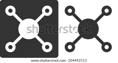Methane (CH4) natural gas molecule, flat icon style. Atoms shown as circles (carbon - large white/grey, hydrogen - small grey/white). - stock photo