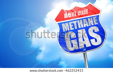 methane gas, 3D rendering, blue street sign