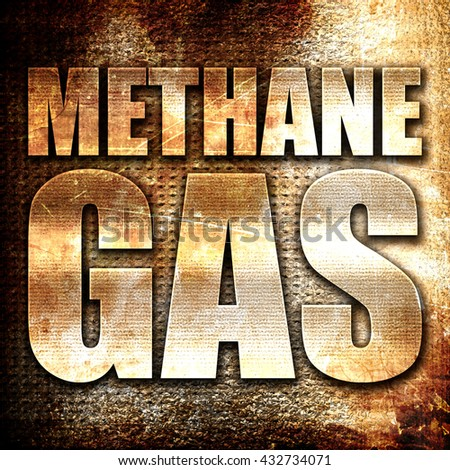 methane gas, 3D rendering, metal text on rust background