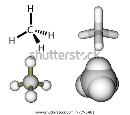 Methane structural formula and molecular models - stock photo