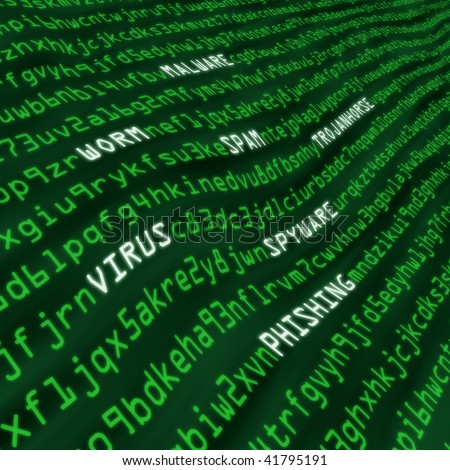 Methods of cyber attack in code including virus, worm, trojan horse, malware and spyware - stock photo