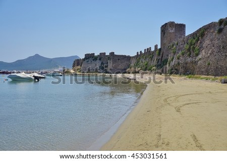 METHONI, GREECE -10 JULY 2016- Ruins of the landmark Methoni Castle, a fortress in the Messenia region of Peloponnese in Greece built on a cape and islet over the sea.