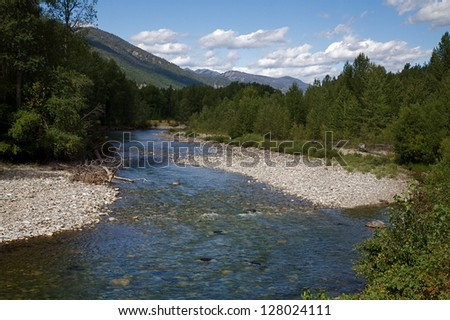 Methow River, a classic salmon fishing river in the Cascade Mountains, Methow Valley, Washington state fly fishing for trout and salmon nature conservation environment environmental - stock photo