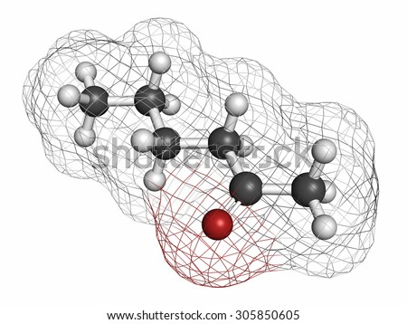 Methyl butyl ketone (MBK, 2-hexanone) solvent molecule. Atoms are represented as spheres with conventional color coding: hydrogen (white), carbon (grey), oxygen (red). - stock photo