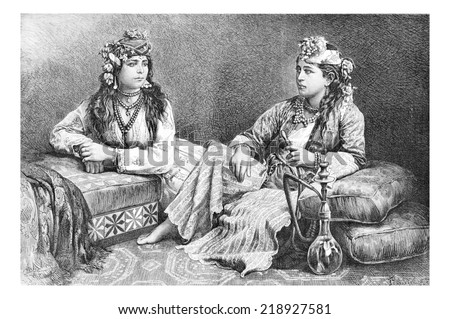Metouali Women of Sidon, Lebanon, with hookah, vintage engraved illustration. Le Tour du Monde, Travel Journal, 1881 - stock photo
