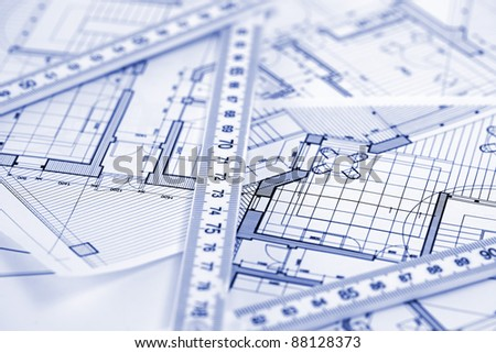 metric folding ruler and architectural drawings of the modern house - Architectural Drawings Of Modern Houses