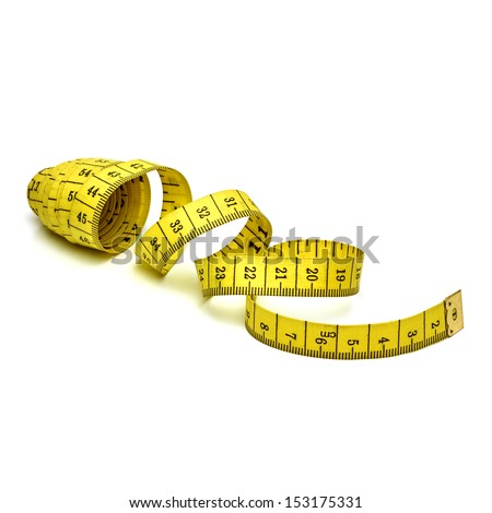 Metric measuring tape on white background
