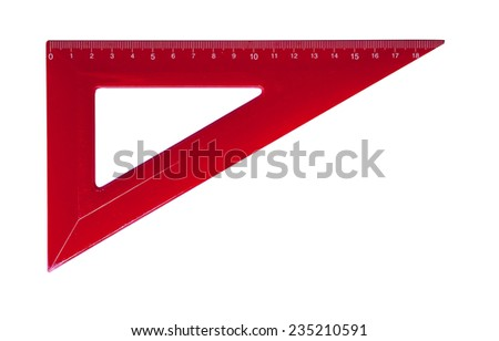 Metric red plastic triangle isolated with clipping path (w/o shadow). Very high resolution and lot of details. - stock photo