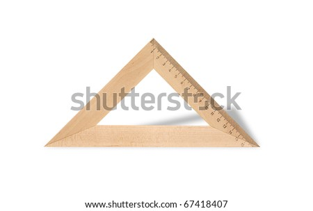 Metric wooden triangle isolated on white background with clipping path - stock photo