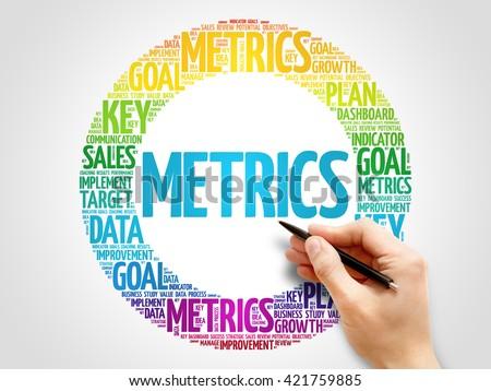 Metrics circle word cloud, business concept background - stock photo