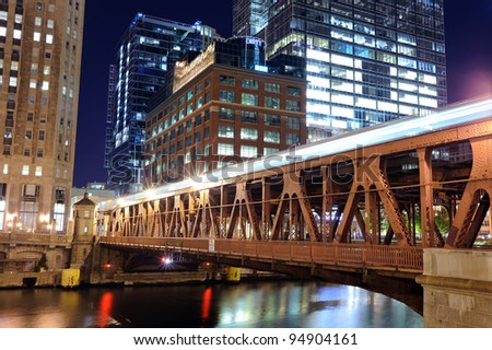 Metro bridge in Chicago downtown at night - stock photo