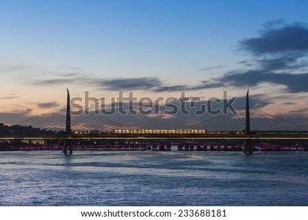 Metro bridge through Golden Horn in Istanbul, Turkey - stock photo