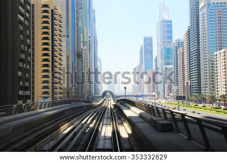 Metro Dubai, United Arab Emirates April 7, 2014, in view of the urban scene, the view from the train window soft focus