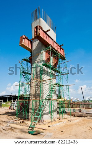 Metro Rail construction poles. - stock photo