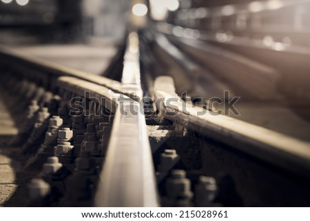 metro rail in the tunnel - stock photo