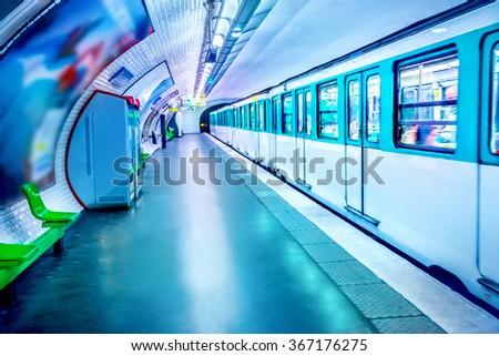 Metro station in Paris - stock photo