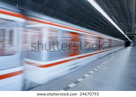 metro station with an highspeed train - stock photo