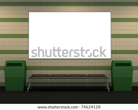 Metro station with green and white tile wall and copy space -3d illustration