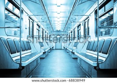 Metro train interior - stock photo