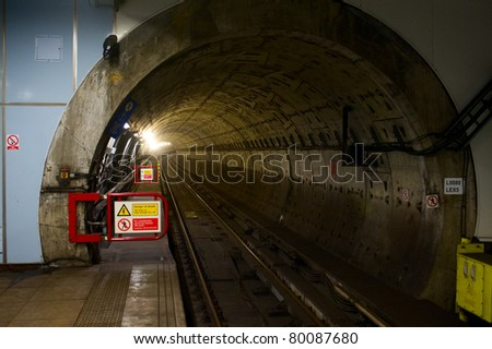metro tunnel in London - stock photo