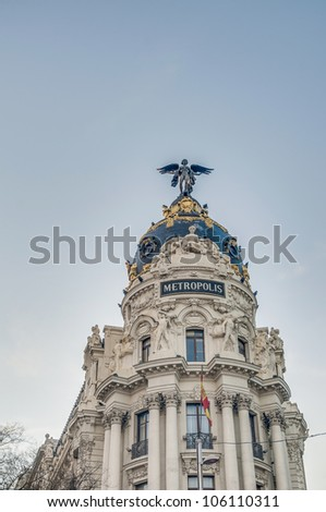 Metropolis building facade located at Madrid, Spain - stock photo