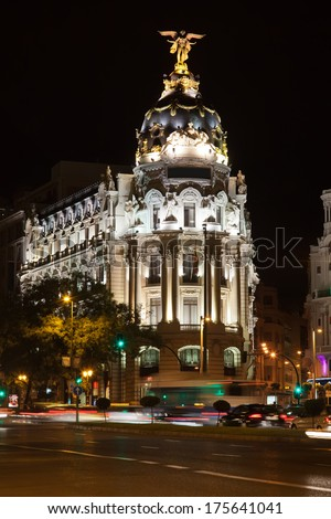 Metropolis Building on Gran Via, Madrid, Spain - stock photo