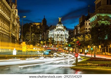 Metropolis hotel in Madrid in a beautiful summer night, Spain - stock photo