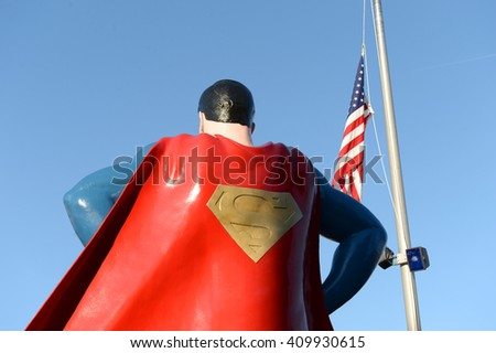 Metropolis, IL, USA - March 25, 2016: Statue of Superman outside the Museum and hometown in Metropolis, Illinois - stock photo