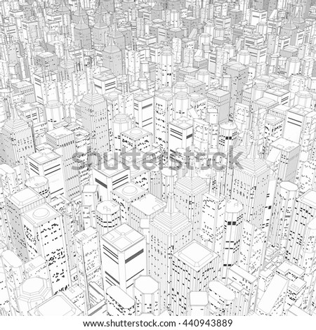 Metropolis in black and white / 3D illustration of vast line art cartoon city