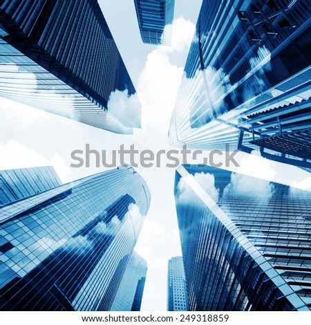 Metropolis of Shanghai's modern office building - stock photo