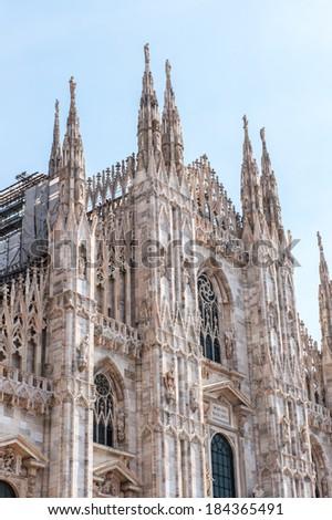Metropolitan Cathedral-Basilica of the Nativity of Saint Mary - Milan Cathedral - Duomo di Milano, Italy - stock photo
